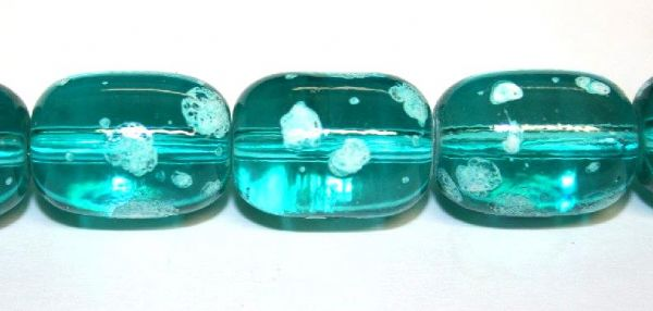 26pieces x 16mm*12mm Turquoise colour oval shape bubble gum glass beads / speckled glass beads -- 3005158